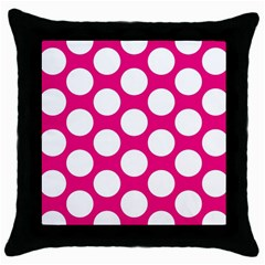 Pink Polkadot Black Throw Pillow Case