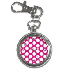Pink Polkadot Key Chain Watch