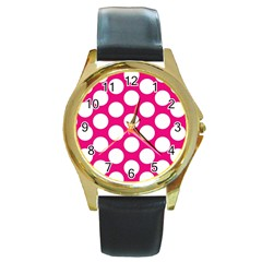 Pink Polkadot Round Leather Watch (Gold Rim)