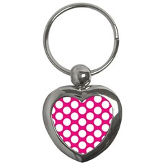 Pink Polkadot Key Chain (Heart)
