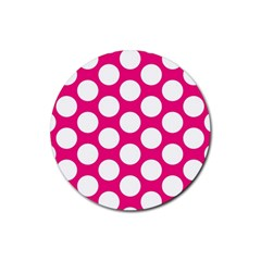 Pink Polkadot Drink Coasters 4 Pack (Round)