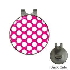 Pink Polkadot Hat Clip with Golf Ball Marker
