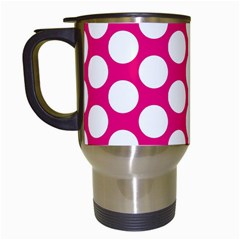 Pink Polkadot Travel Mug (white)