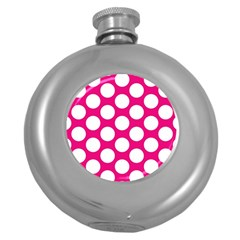 Pink Polkadot Hip Flask (Round)