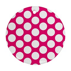 Pink Polkadot Round Ornament (Two Sides)
