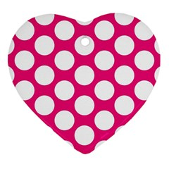 Pink Polkadot Heart Ornament (Two Sides)