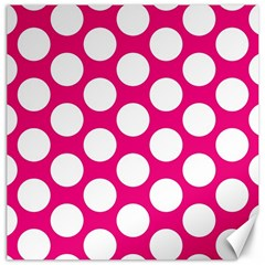 Pink Polkadot Canvas 12  X 12  (unframed)