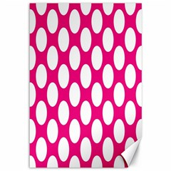 Pink Polkadot Canvas 12  X 18  (unframed)