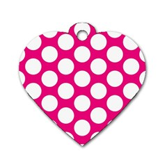 Pink Polkadot Dog Tag Heart (one Sided)