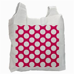 Pink Polkadot White Reusable Bag (One Side)