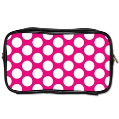 Pink Polkadot Travel Toiletry Bag (Two Sides)