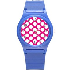 Pink Polkadot Plastic Sport Watch (small)