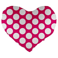 Pink Polkadot 19  Premium Heart Shape Cushion