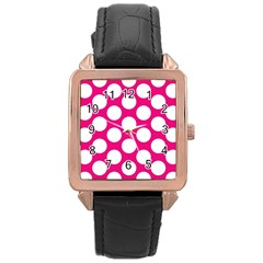 Pink Polkadot Rose Gold Leather Watch
