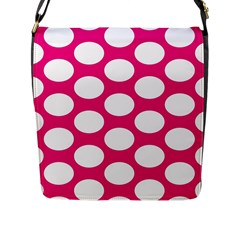 Pink Polkadot Flap Closure Messenger Bag (large)
