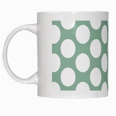 Jade Green Polkadot White Coffee Mug