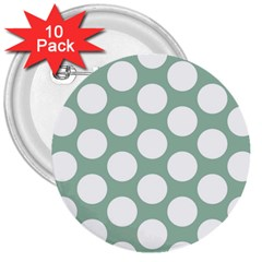 Jade Green Polkadot 3  Button (10 pack)