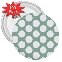 Jade Green Polkadot 3  Button (100 pack)