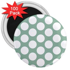 Jade Green Polkadot 3  Button Magnet (100 pack)