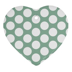 Jade Green Polkadot Heart Ornament (Two Sides)