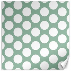 Jade Green Polkadot Canvas 20  x 20  (Unframed)