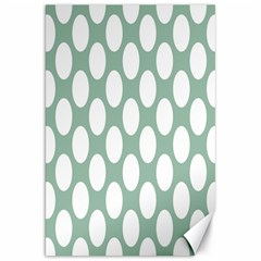 Jade Green Polkadot Canvas 20  x 30  (Unframed)