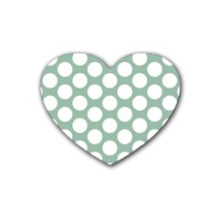Jade Green Polkadot Drink Coasters 4 Pack (Heart)