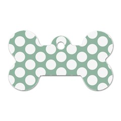 Jade Green Polkadot Dog Tag Bone (One Sided)