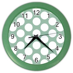 Jade Green Polkadot Wall Clock (color)