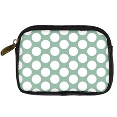 Jade Green Polkadot Digital Camera Leather Case