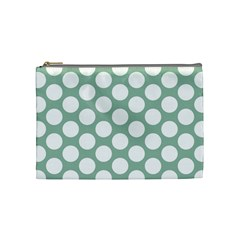 Jade Green Polkadot Cosmetic Bag (Medium)