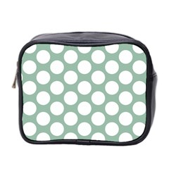 Jade Green Polkadot Mini Travel Toiletry Bag (two Sides)