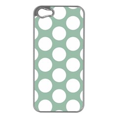 Jade Green Polkadot Apple iPhone 5 Case (Silver)