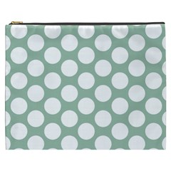 Jade Green Polkadot Cosmetic Bag (xxxl)
