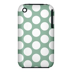 Jade Green Polkadot Apple iPhone 3G/3GS Hardshell Case (PC+Silicone)