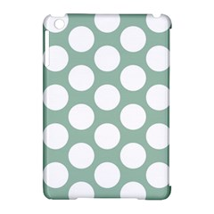 Jade Green Polkadot Apple Ipad Mini Hardshell Case (compatible With Smart Cover)