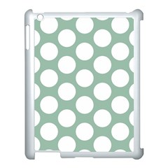 Jade Green Polkadot Apple iPad 3/4 Case (White)