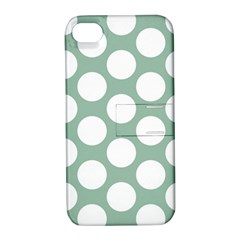 Jade Green Polkadot Apple Iphone 4/4s Hardshell Case With Stand