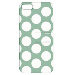 Jade Green Polkadot Apple Iphone 5 Hardshell Case With Stand
