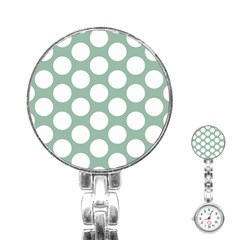 Jade Green Polkadot Stainless Steel Nurses Watch