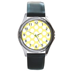 Yellow Polkadot Round Leather Watch (silver Rim)