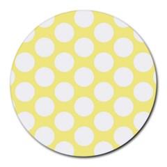 Yellow Polkadot 8  Mouse Pad (Round)