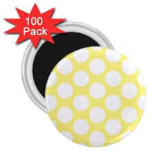 Yellow Polkadot 2 25  Button Magnet (100 Pack)