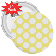 Yellow Polkadot 3  Button (10 pack)