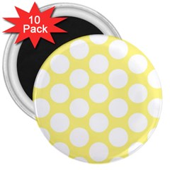 Yellow Polkadot 3  Button Magnet (10 pack)