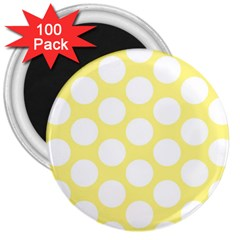 Yellow Polkadot 3  Button Magnet (100 pack)