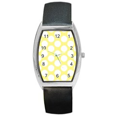 Yellow Polkadot Tonneau Leather Watch