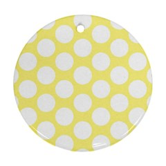Yellow Polkadot Round Ornament (two Sides)