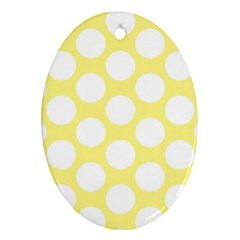 Yellow Polkadot Oval Ornament (two Sides)