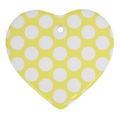 Yellow Polkadot Heart Ornament (Two Sides)